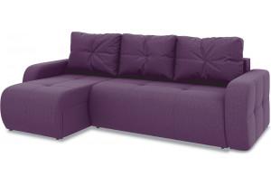 Диван угловой левый «Томас Т1» (Kolibri Violet (велюр) фиолетовый)