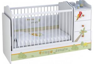 Кроватка-трансформер детская Polini kids Basic с комодом