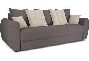 Диван «Бернард» Neo 12 (рогожка) коричневый, подушка Neo 02 (рогожка) бежевый