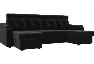 П-образный диван Джастин Черный (Микровельвет)