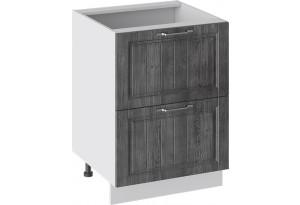 Шкаф напольный с 2-мя ящиками (ПРОВАНС (Белый глянец/Санторини темный))
