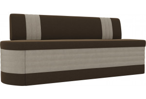 Кухонный прямой диван Токио Коричневый/Бежевый (Микровельвет)