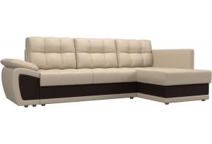 Угловой диван Нэстор прайм бежевый/коричневый (Экокожа)