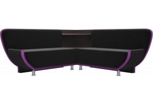 Кухонный угловой диван Лотос черный/фиолетовый (Микровельвет)