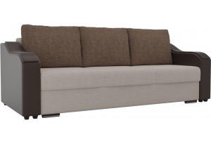 Прямой диван Монако бежевый/коричневый (Рогожка/Экокожа)