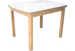 Стол «Орлеан» Т2 (Бук натуральный/дуб сонома, стекло белый глянец)