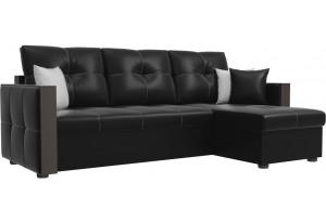 Угловой диван Валенсия Черный (Экокожа)