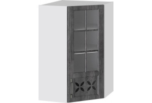 Шкаф навесной угловой c углом 45 со стеклом и декором (ПРОВАНС (Белый глянец/Санторини темный))