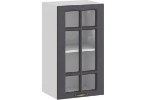 Шкаф навесной c одной дверью со стеклом «Лина» (Белый/Графит)