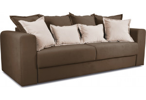 Диван «Раймонд» Beauty 04 (велюр), коричневый, подушка Beauty 02 (велюр), капучино