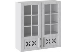 Шкаф навесной cо стеклом и декором (ПРОВАНС (Белый глянец/Санторини светлый))