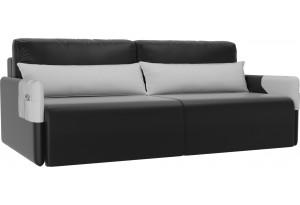 Прямой диван Армада Черный/Белый (Экокожа)