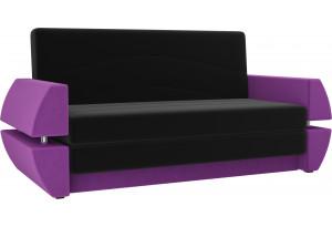 Диван прямой Атлант Т мини черный/фиолетовый (Микровельвет)