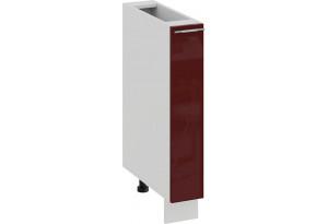Шкаф напольный с выдвижной корзиной «Весна» (Белый/Бордо глянец)