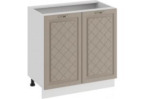 Шкаф напольный с двумя дверями «Бьянка» (Белый/Дуб кофе)