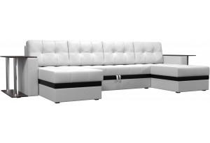 П-образный диван Атланта со столом Белый (Экокожа)
