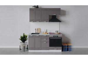 Кухонный гарнитур «Долорес» длиной 160 см со шкафом НБ (Белый/Муссон)