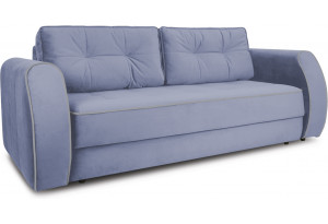 Диван «Хьюго» (Poseidon Blue Graphite (иск.замша) серо-фиолетовый кант Poseidon Grey (иск.замша) серый)
