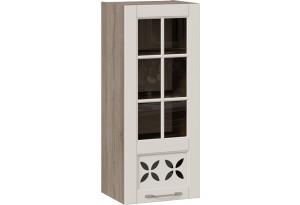 Шкаф навесной cо стеклом и декором (правый) (СКАЙ (Бежевый софт))