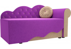 Детская кровать Тедди-1 фиолетовый/бежевый (Микровельвет)
