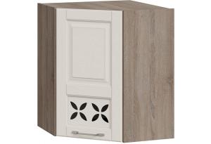 Шкаф навесной угловой c углом 45 с декором (СКАЙ (Бежевый софт))