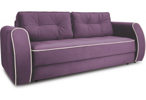 Диван «Хьюго» (Galaxy 11 (велюр) фиолетовый кант Galaxy 01 (велюр) светло-бежевый)