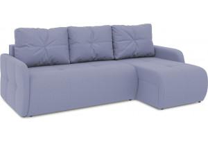 Диван угловой правый «Томас Slim Т1» (Poseidon Blue Graphite (иск.замша) серо-фиолетовый)