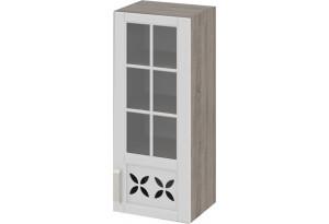 Шкаф навесной cо стеклом и декором (правый) Дуб Сонома трюфель/Крем