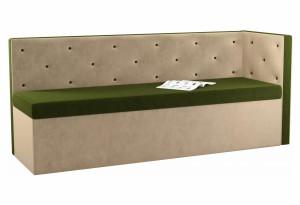 Кухонный диван Салвадор с углом Зеленый/Бежевый (Микровельвет)