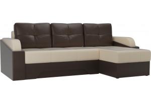Угловой диван Панда бежевый/коричневый (Экокожа)