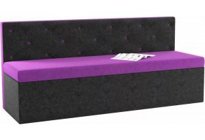 Кухонный прямой диван Салвадор Фиолетовый/Черный (Микровельвет)