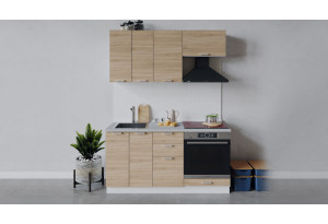 Кухонный гарнитур «Гранита» длиной 160 см со шкафом НБ (Белый/Дуб сонома)