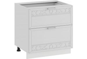Шкаф напольный с двумя ящиками «Долорес» (Белый/Сноу)