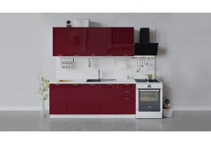 Кухонный гарнитур «Весна» длиной 200 см (Белый/Бордо глянец)
