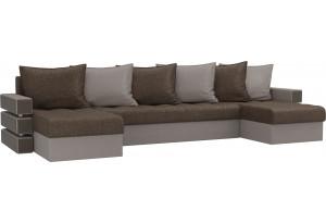 П-образный диван Венеция Коричневый/Бежевый (Рогожка)