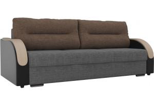 Прямой диван Дарси Серый/черный (Рогожка/Экокожа)