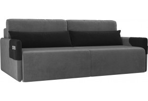 Прямой диван Армада Серый/черный (Велюр)