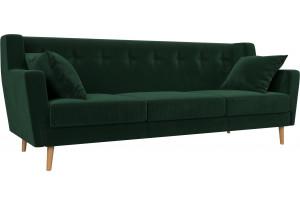 Прямой диван Брайтон 3 Зеленый (Велюр)