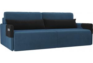 Прямой диван Армада голубой/черный (Велюр)