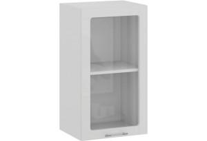 Шкаф навесной c одной дверью со стеклом «Весна» (Белый/Белый глянец)