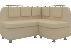 Кухонный угловой диван Уют 2 Бежевый (Экокожа)