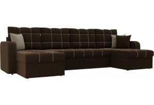 П-образный диван Ливерпуль Коричневый (Микровельвет)