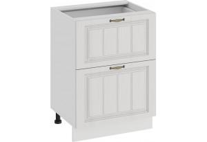 Шкаф напольный с двумя ящиками «Лина» (Белый/Белый)