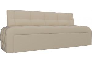 Кухонный прямой диван Люксор Бежевый (Экокожа)