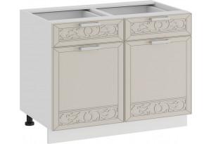 Шкаф напольный с двумя ящиками и двумя дверями «Долорес» (Белый/Крем)