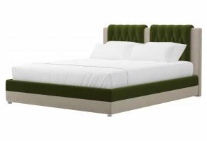 Кровать Камилла Зеленый/Бежевый (Микровельвет)