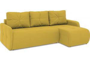 Диван угловой правый «Томас Slim Т1» (Poseidon Curcuma (иск.замша) желтый)
