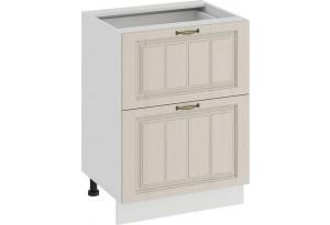 Шкаф напольный с двумя ящиками «Лина» (Белый/Крем)