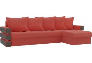Угловой диван Венеция Коралловый (Микровельвет)
