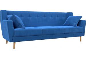 Прямой диван Брайтон 3 Голубой (Велюр)